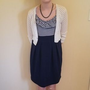 Girl's Derek Heart Navy & White Stripe Dress
